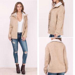 TOBI Trendy Wool Coat Sherpa Collar Camel Jacket